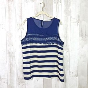 [Nordstrom] Gibson Blue Striped Lace Detail Blouse